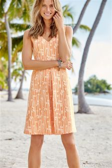 Peach Floral Jacquard Dress