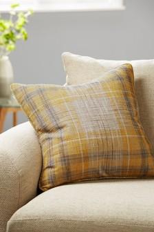Small Ochre Astley Woven Boucle Check Cushion