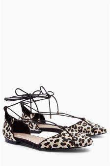 Leopard Print Lace-Up Ballerinas