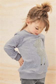 Charcoal Deer Bouclé Crew Neck Sweater (3mths-6yrs)