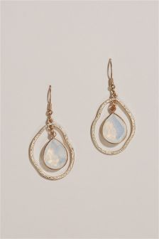 Gold Tone Stone Drop Earrings