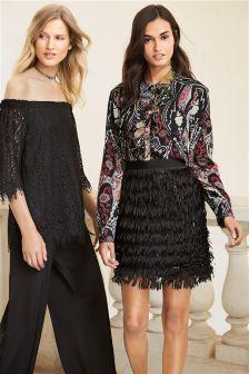 Black Fringe Embellished Skirt