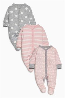 Pink/Grey Stripe And Spot Sleepsuits Three Pack (0mths-2yrs)