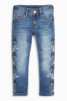 Dark Wash Embroidery Skinny Jeans (3-16yrs)