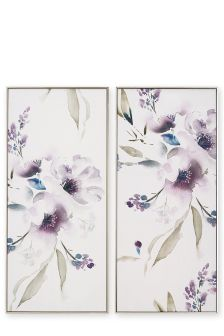 Set Of 2 Beaded Floral Panels