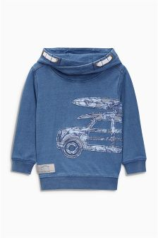 Blue Car Appliqué Hoody (3mths-6yrs)