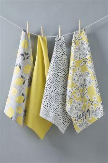 Set Of 4 Happiness Tea Towels