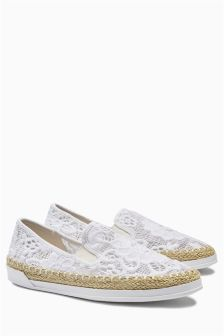 Cream Lace Espadrilles