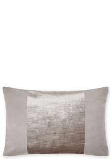 Feather Filled Plush Tonal Velvet Panel Cushion