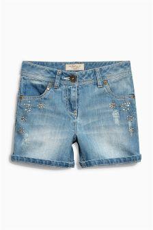 Denim Embellished Shorts (3-16yrs)