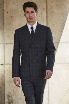 Grey Check Double Breasted Suit Jacket