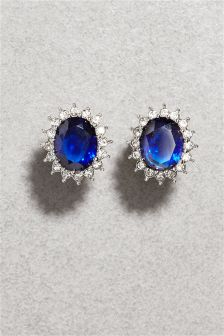 Platinum Plated Blue Stone Earrings