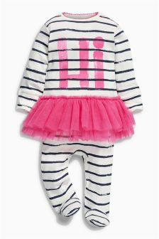White/Pink Hi Tutu Sleepsuit (0-9mths)