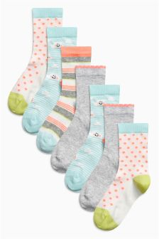 Bright Pattern Socks Seven Pack (Older Girls)