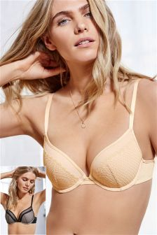 Black/Nude Cara Lace Push Up Plunge Bras Two Pack