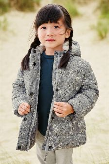Grey Floral Print Padded Jacket (3mths-6yrs)