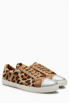 Leopard Print Lace-Up Slim Trainers