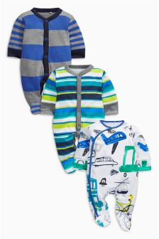 White/Blue Transport Sleepsuits Three Pack (0mths-2yrs)