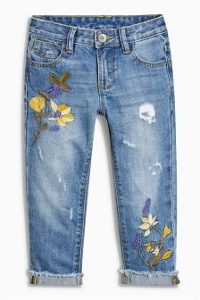 Denim Mid Blue Embroidery Relaxed Skinny Jeans (3-16yrs)