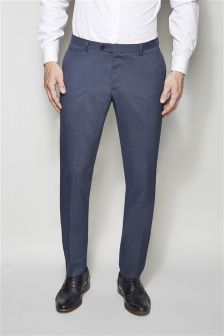Blue Shawl Collar Skinny Fit Suit: Trousers