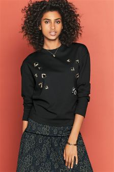 Black Embellished Insect Technical Sweatshirt
