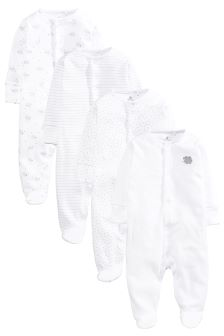 White Delicate Sheep Sleepsuits Four Pack (0mths-2yrs)