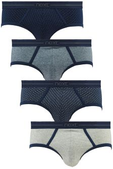 Navy Geometric Low Rise Briefs Four Pack