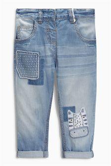 Mid Blue Zebra Embellished Jeans (3mths-6yrs)
