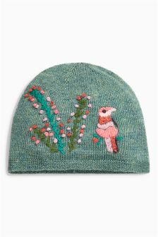Green Embroidered Hat (Younger Girls)