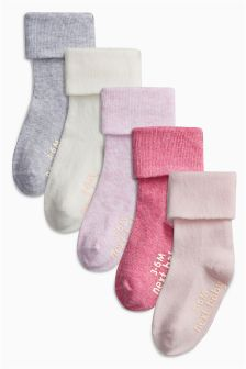 Pink Roll Top Socks Five Pack (Younger Girls)