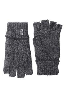 Grey Knitted Fingerless Gloves