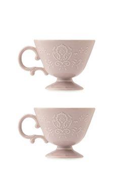 Set Of 2 Embossed Footed Mugs