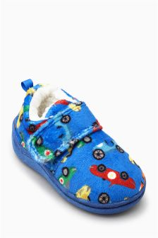Blue Car Print Slippers (Younger Boys)