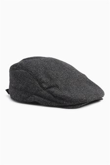 Grey Textured Flat Cap