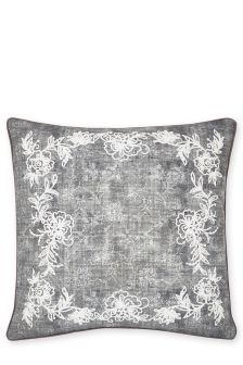 Floral Embroidered Border Cushion