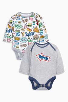 Multi Badged Long Sleeve Bodysuits Two Pack (0mths-2yrs)