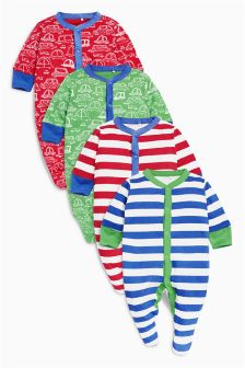 Red/Green Car Sleepsuits Four Pack (0mths-2yrs)