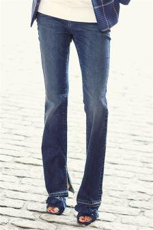 Dark Blue Side Split Hem Jeans