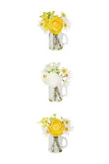 Set Of 3 Mini Floral Glass Mugs