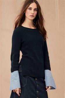 Woven Cuff Sweater