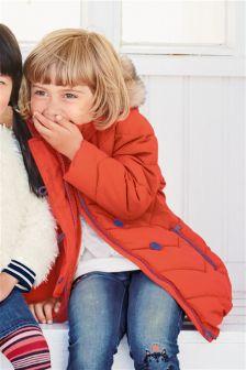 Orange Padded Longline Jacket (3mths-6yrs)