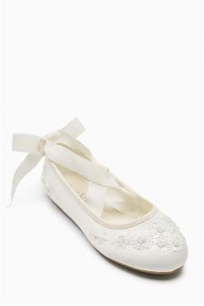 Ivory Embellished Ballet Shoes (Older Girls)