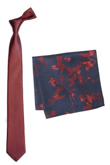 Red Textured Tie And Pocket Square Set