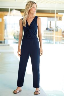 Navy Cross Front Jumpsuit