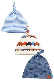 Navy Digger Print Tie Top Hats Three Pack (0-18mths)