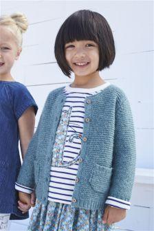 Khaki Round Neck Brushed Knit Cardi (3mths-6yrs)