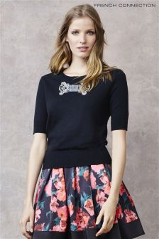 French Connection Black Jewel Bow Jumper