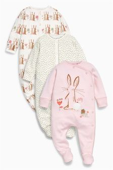 Pink Bunny Sleepsuits Three Pack (0mths-2yrs)