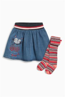 Denim Cat Embroidered Skirt And Tights (3mths-6yrs)