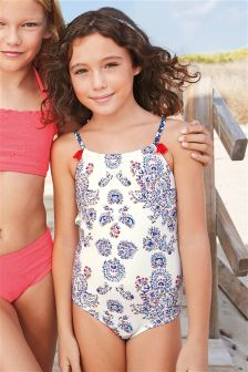 White Paisley Swimsuit (3-16yrs)